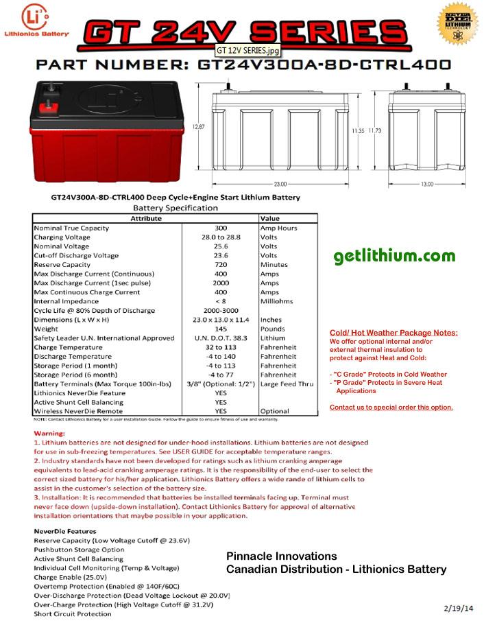 Gt Series 24 Volt 25 6v 320 Amp Hour Group 8d Lithium