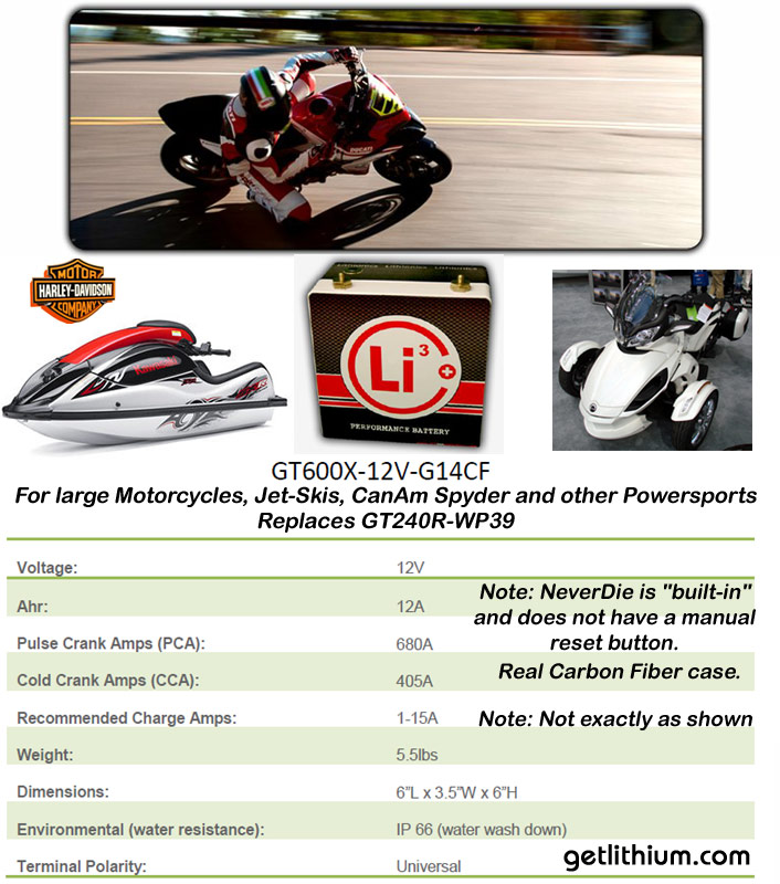 Lithionics Battery GT600X 12 Volt Group 14 lithium-ion battery with 680 cranking amps built-in NeverDie BMS for motorcycles jetskis Can-Am Spyders