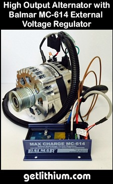 Click here for a larger image of the Nations Alternator high output alternators and Balmar MC-614 external Voltage regulator.