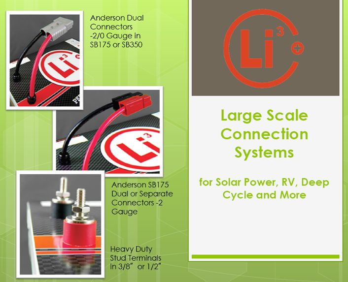 Large scale connection systems for solar power, RV, Deep Cycle