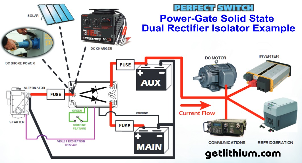 Perfect Switch Power-gate Solid State Mosfet Battery Isolator Dual Rectifiers