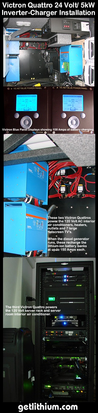 An example of three Victron Quattro 24 Volt 5,000 Watt inverter-chargers installed on a corporate tour bus and connected to a Lithionics lithium-ion battery bank with 880 Amp hours capacity at 24 Volts.