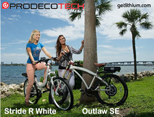Prodecotech electric assist comfort bikes, folding e-bicycles, beach cruiser e-bikes, electric mountain bikes, 20 inch wheel bicycles and more...