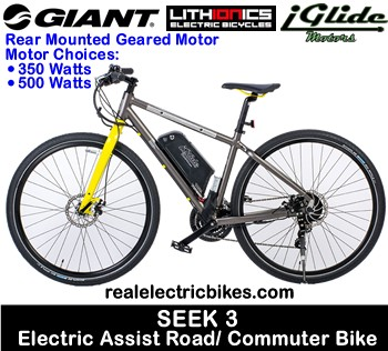 Giant bicycles hybrid bikes with rear mounted electric assist motors and lithium battery pack