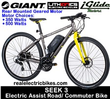 Giant Seek 3 electric assist road bike, commuter/ city bike with electric pedal assist by Lithionics iGlide high efficiency 36 Volt and 48 Volt DC geared/ direct drive motors and lithium ion battery