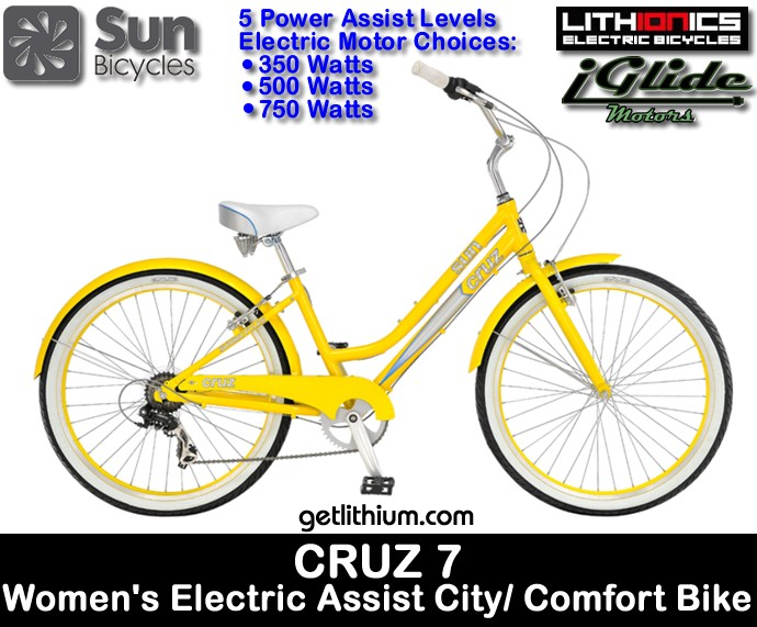 sun cruz 7 electric assist women 39 s 16 yellow pearl city. Black Bedroom Furniture Sets. Home Design Ideas