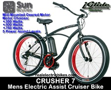 Beach Cruiser bicycle: Sun Crusher 7 with electric pedal assist by Lithionics iGlide motors - the perfect cool cruiser bike, commuter bicycle or comfort bicycle