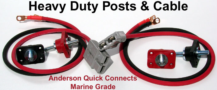 Anderson Blue Sea Quick Connect MArine Grade 250 Amp connectors with welding cable