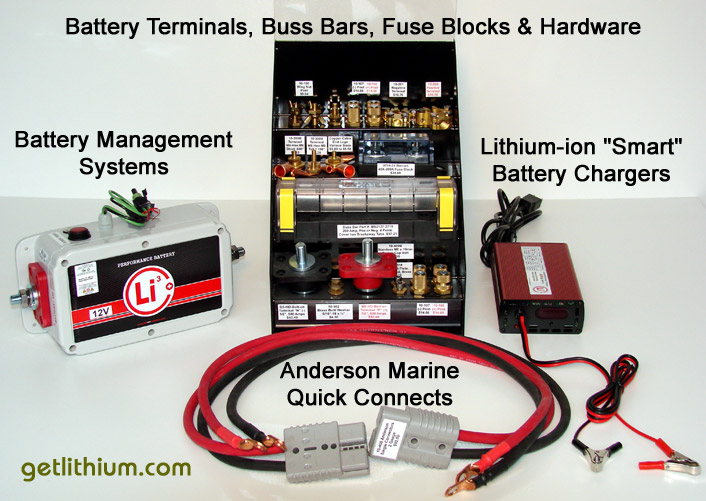 "Lithionics Battery ""Smart"" Lithium-ion Battery Chargers, Battery MAnagement Systems, Copper Battery Terminals and Connectors, Anderson Power high grade, super efficient copper power cables and lossless copper power and ground wire quick connects"