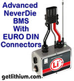 Lithionics Advanced Series NeverDie Battery Management System box (BMS) with State of Charge Kit sending unit built-in and plug and play EURO DIN connectors