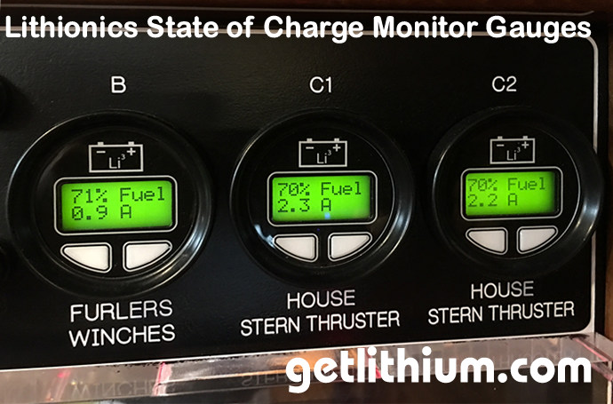 Lithionics Battery State of Charge Monitor System with round 2 line digital display