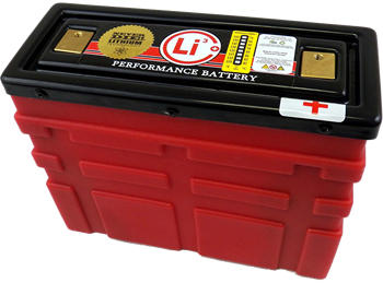 12 volt auto racing lithium-ion battery in red plastic battery case