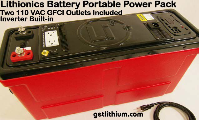 110 Volts AC mobile power pack battery with 2 GFCI outlets and pure sine wave inverter built in
