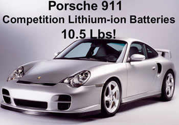 Porsche 911 carbon fiber replacement lithium-ion battery