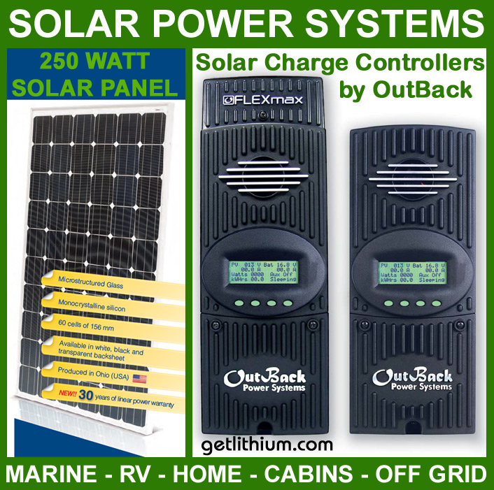 Isofoton 250 watt solar panels and OutBack Power FLEXmax solar charge controllers