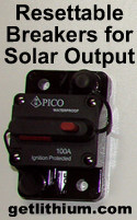 Resettable circuit breakers and fuses for solar panel projects