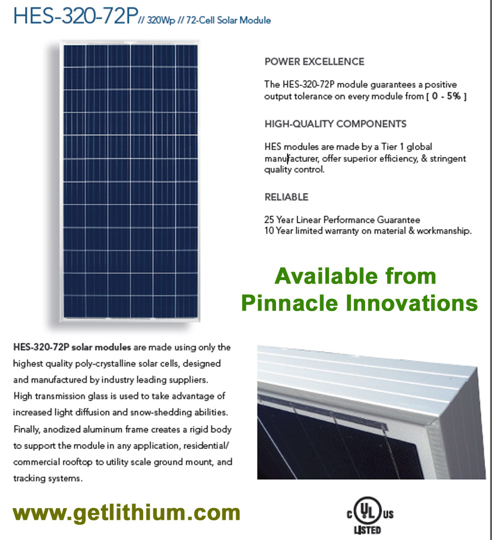 HES Solar 320-72P high efficiency Solar Energy Panels: 320