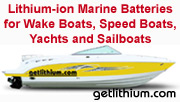 Ski and wake boat lithium-ion deep cycle and diesel engine starting batterie