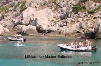 Lithium-ion marine batteries for yachts, sailboats, commercial ships, pleasure boats and more. Photo: Mallorca, Spain on the Mediterranean