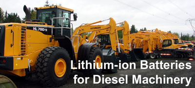 Lithium-ion diesel equipment batteries for excavators, loaders, scrapers and more
