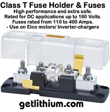 Blue Sea marine Class T fuse block holder and Class T fuses.