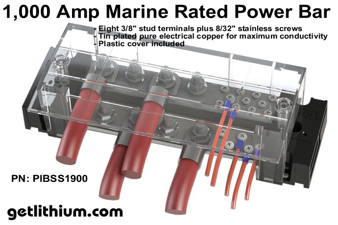 1,000 Amp marine grade electric bus bar
