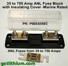 Blue Sea marine ANL fuse block holder and Anl fuses.