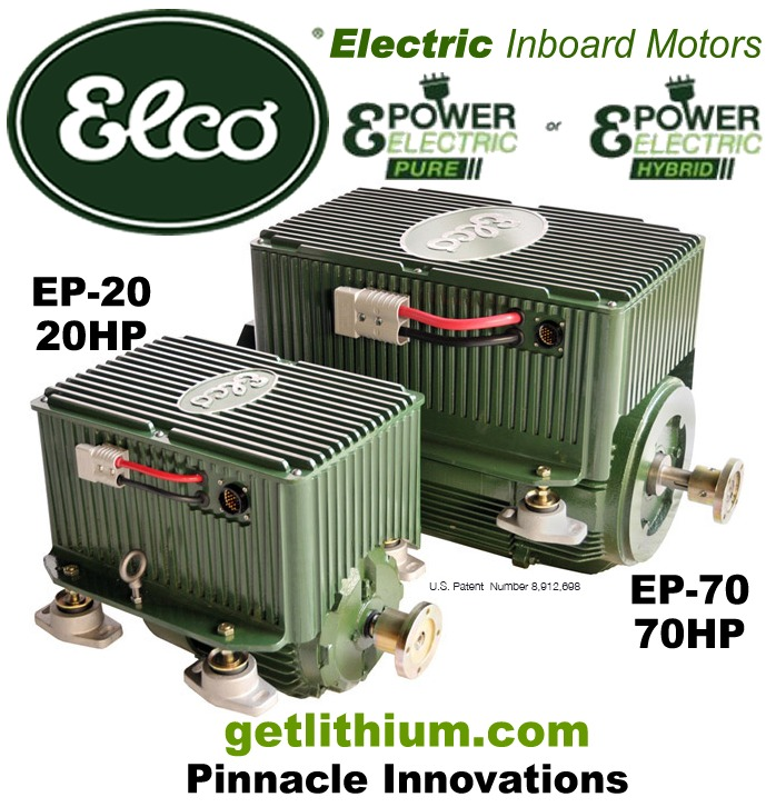 Elco EP-20 and EP-70 high efficiency electric marine engines