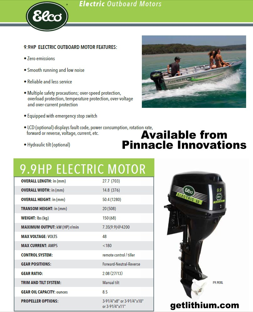 Elco Motor Yachts 48 Volt 9 9 HP Electric Outboard Motor for