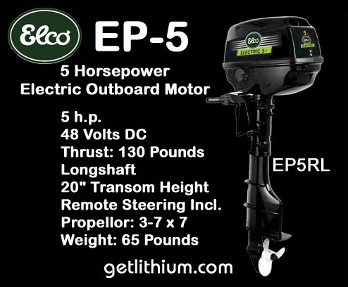 Click here for more information on this Elco 48 Volt DC electric marine outboard engine