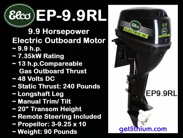 Elco Motor Yachts 48 Volt 9 9 Hp Electric Outboard Motor