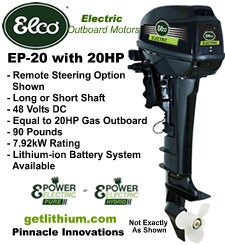 Click here for the Elco 20 horsepower electric outboard motor...