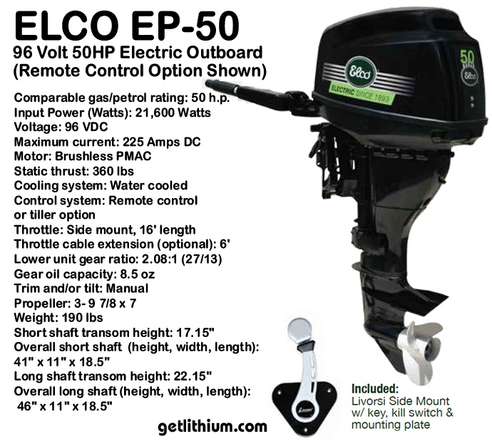 Powerful Elco 50 horsepower electric outboard boat motor