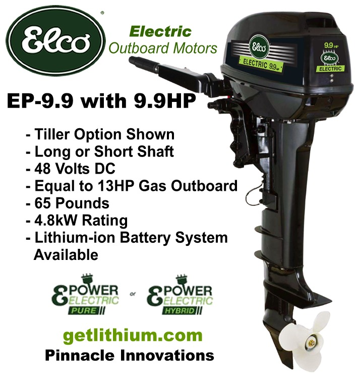 Elco motor yachts 48 volt 9 9 hp electric outboard motor for Best outboard motor warranty