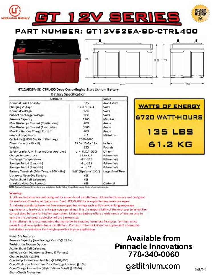 GT Series 12 Volt (12V) 600 amp hour Group 8D Lithium Ion Battery ...