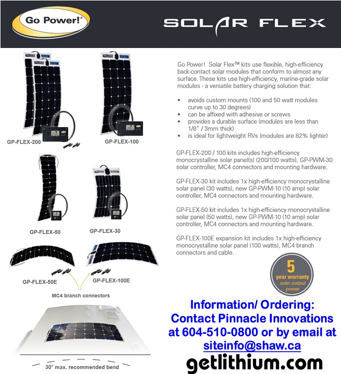 Go Power solar panels - click here for a larger image...