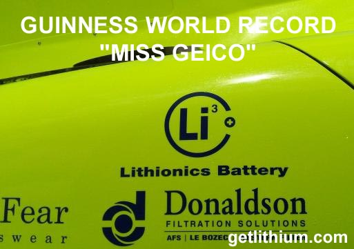 Guinness World Record for Miss Geico: world's fastest race boat
