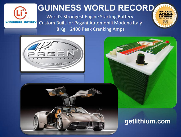 Guinness World Record for the world's strongest engine cranking battery in the Pagani Supercar