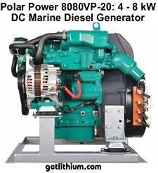 Polar Power DC diesel generator with 4kW to 8kW output - DC direct battery charging means greater efficiency