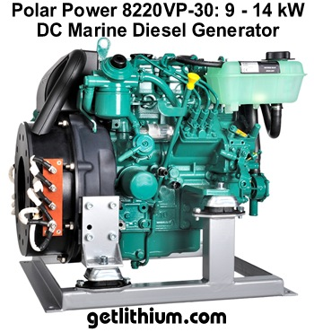 Polar Power DC diesel generator with 13kW to 20kW output - DC direct battery charging means greater efficiency