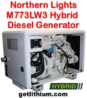 Northern Lights M773LW3 9 kilowatt diesel hybrid electric generator - click for a larger image...