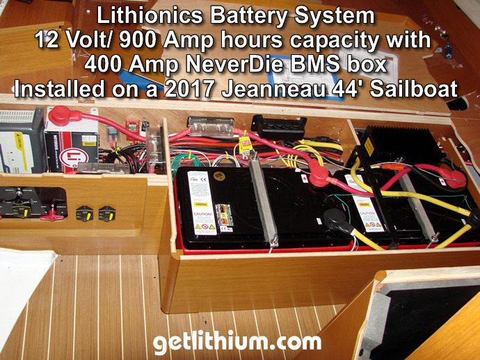 Lithionics battery installation on a 44 foot Jeanneau sailboat