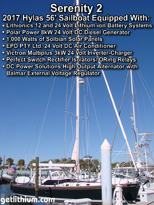 56 foot Hylas sailboat equipped  with Lithionics 12 and 24 Volt lithium battery systems, Polar Power 24 Volt Dc generator, Solbian solar panels and more