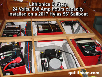 Lithionics lithium-ion battery system and BMS installed on a 2017 Hylas 56' sailboat