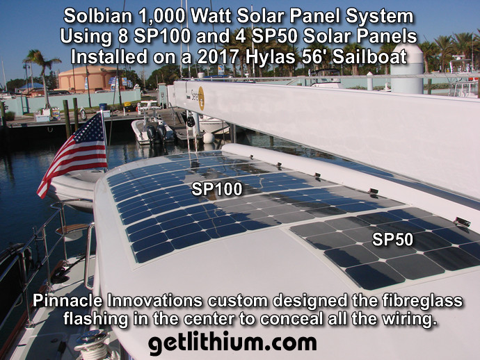 Solbian SP100 and Solbian SP50 solar panels installed on a sailboat bimini roof