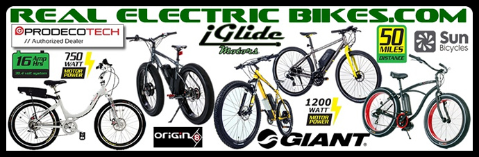 Real Electric Bikes.com: get the latest high performance electric mountain bikes, electric fat tire cruiser bikes, electric raod/ commuter bikes and electric foldng bicycles by Prodeco, Giant, Origin 8, Sun Bicycles and more...
